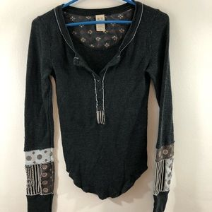 Free People Thermal Henley Designed Sleeves S